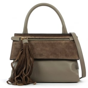 Daniel Front Zip Taupe Leather Contrast Crossbody