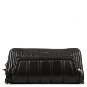 DKNY Gansevoort Black Leather Quilted Bombay Clutch