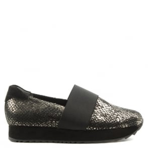 Kennel & Schmenger Amis Black Metallic Reptile Loafer