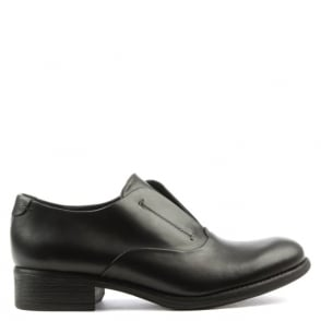 Manas Black Leather Slip On Day Shoe