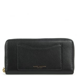 Marc Jacobs Recruit Continental Zippy Black Leather Wallet