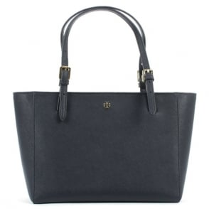 Tory Burch York Navy Leather Top Zip Tote Bag