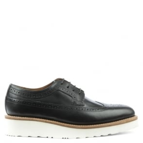 Grenson Agnes Black Leather White Unit Brogue