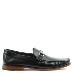 Gucinari Black Leather Metal Trim Loafer