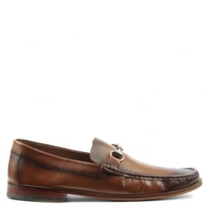 Gucinari Tan Leather Metal Trim Loafer