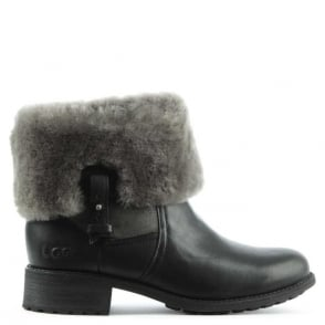 UGG Chyler Black Leather Cuffed Ankle Boot