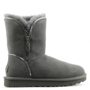 UGG Florence Grey Suede Curved Zipper Ankle Boot