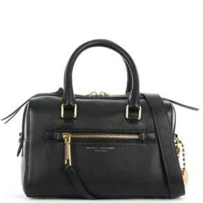 Marc Jacobs Recruit Small Bauletto Black Leather Bowler Bag