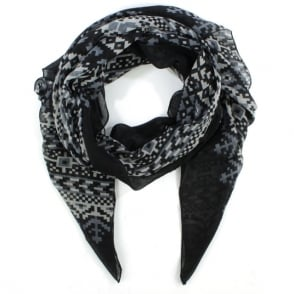 Daniel Patterned Black Light Weight Scarf