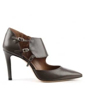 Taupe Leather Triple Buckle Court Shoe