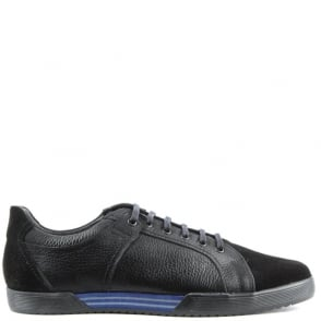Enzo Feldini Black Leather Suede Toe Lace Up Trainer