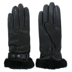 UGG Lizard Black Leather Belted Glove