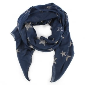 Daniel Navy Cotton Star Scarf