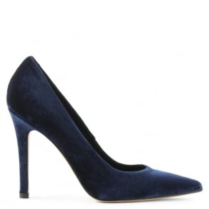 Daniel Bridget Navy Velvet Court Shoe