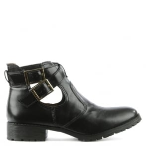 Via Uno Black Ankle Strap Boot