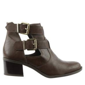 Via Uno Brown Double Buckle Biker Boot