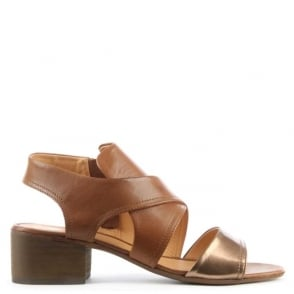 Hudson Ayasha Bronze & Tan Leather Cross Over Strap Sandal