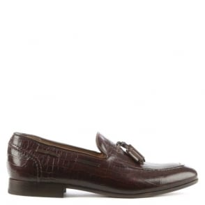 Hudson Men's Pierre Brown Moc Croc Tassel Loafer
