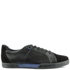 Enzo Feldini Black Leather & Suede Sporty Lace Up Trainer