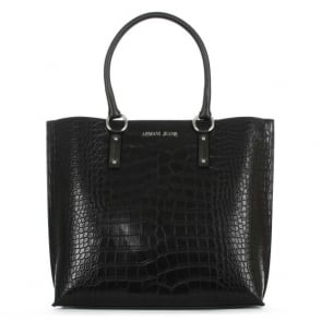 Armani Jeans Large Black Moc Croc Shopper