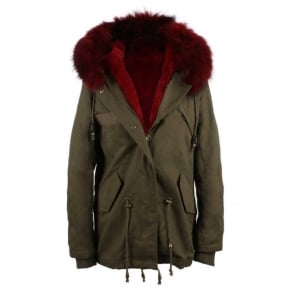Daniel Paris Burgundy Fur Trim Parka