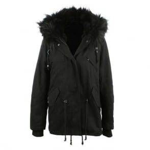 Daniel Paris Black Fur Trim Parka