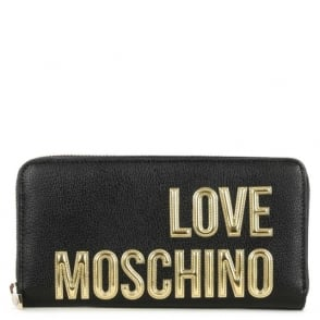 Love Moschino Black Large Zip Around Logo Wallet