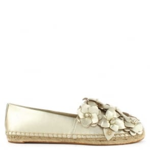 Tory Burch Blossom Gold Metallic Leather Espadrille