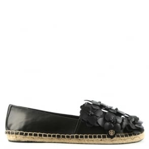 Tory Burch Blossom Black Leather Espadrille