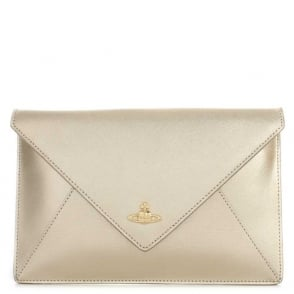 Vivienne Westwood Envelope Gold Metallic Leather Pouch Clutch