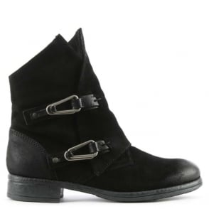 Mjus Alera Black Leather Double Buckle Ankle Boot