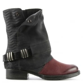 Mjus Avina Black & Burgundy Leather Chunky Biker Boot