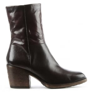 Mjus Deliah Brown Leather Stacked Heel Ankle Boot