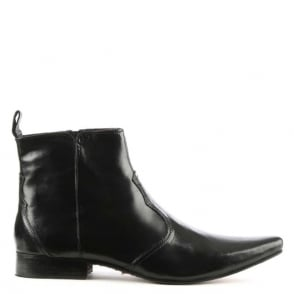 Gucinari Black Leather Pointed Toe Ankle Boot
