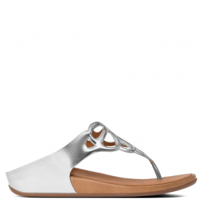 FitFlop Bumble Silver Leather Laser Cut Upper Toe Post Sandal