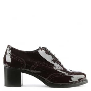 Burgundy Patent Leather Block Heel Brogue