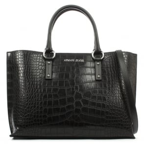 Armani Jeans Reptile Black Top Zip Shopper