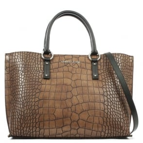 Armani Jeans Reptile Brown Top Zip Shopper