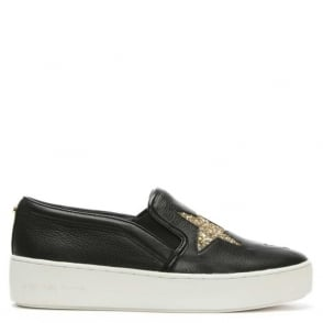 Michael Kors Pia Star Black Leather Slip On Trainer