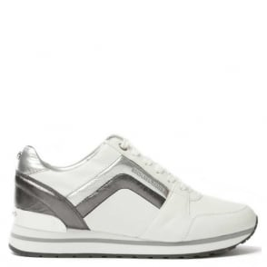 Michael Kors Conrad White Leather Metallic Detail Trainer