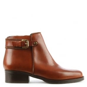 Lamica Tan Leather Buckle Ankle Boot