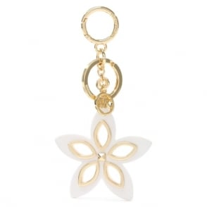Michael Kors Floral Grommet Optic White Keyring