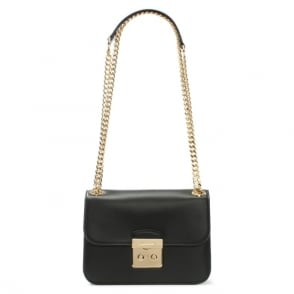 Michael Kors Sloan Editor Medium Black Leather Shoulder Bag