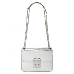 Michael Kors Sloan Editor Medium Silver Reptile Shoulder Bag
