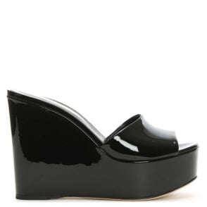 Sergio Rossi Lakeesha Black Patent Leather Wedge Mule