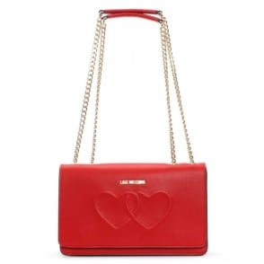 Love Moschino Lumpur Red Heart Embossed Shoulder Bag