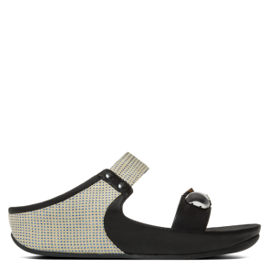 FitFlop Jeweley Slide Black Leather Sandal