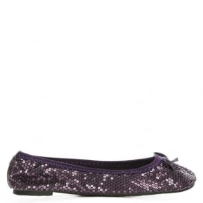 Scholl Sequins Purple Foldable Pocket Ballerina