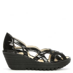 Fly London Yadi Black Patent Cut Out Wedge Peep Toe Pump