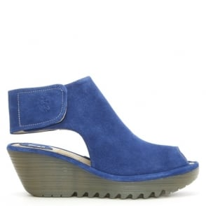 Fly London Yone Blue Suede Backless Wedge Sandal